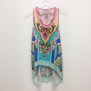 Flying Tomato colorful high-low blouse